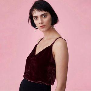 Rebecca Taylor Bordeaux Velvet Camisole Sleeveless